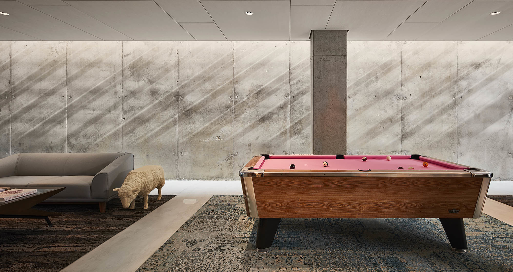 modern lounge with pool table