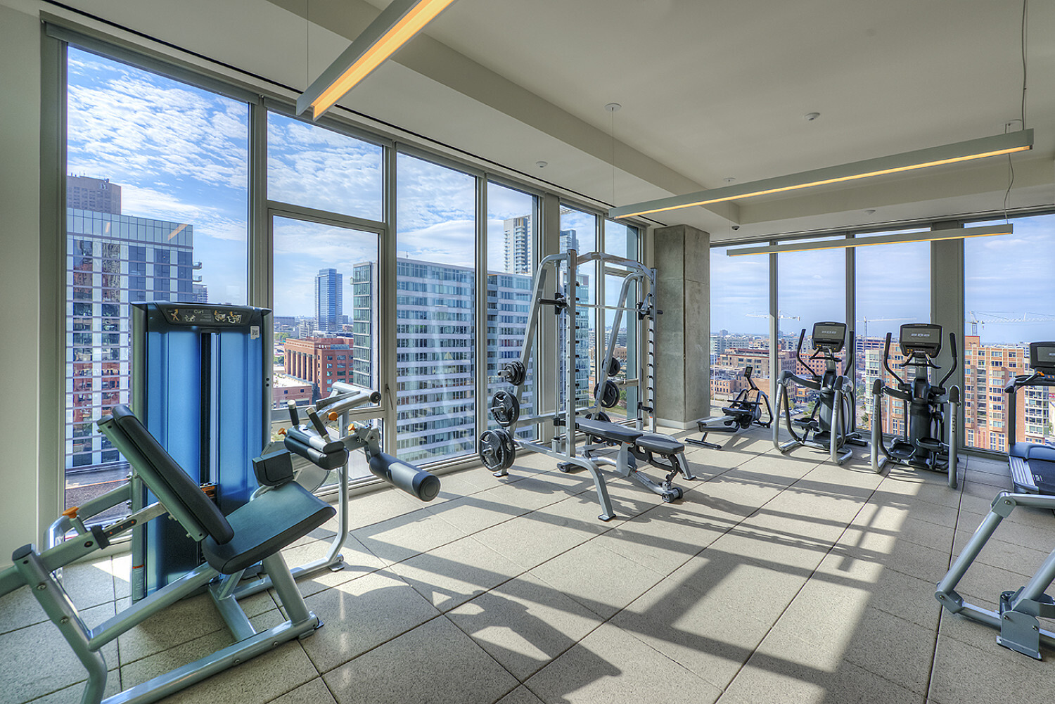 fitness room with views