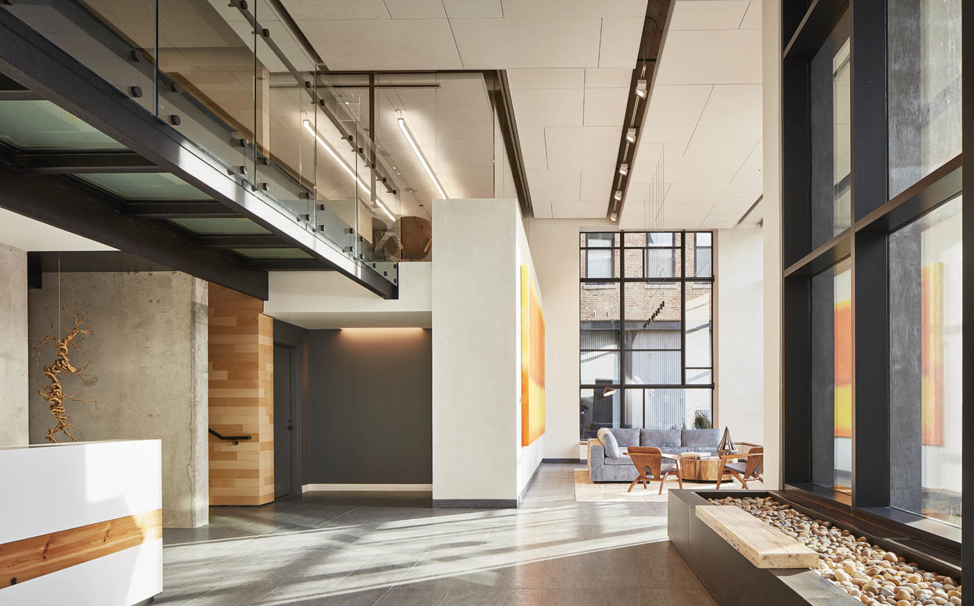 light-filled lobby with expansive windows